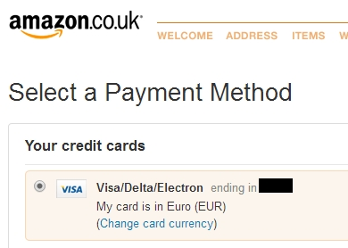 Amazon Currency Converter creditcard