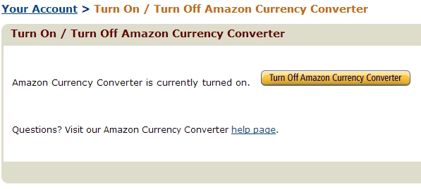 Turn Off Amazon Currency Converter