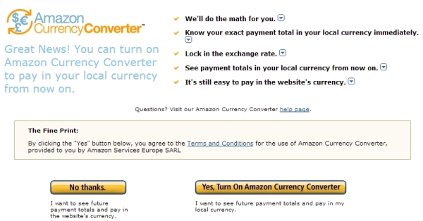 Turn On Amazon Currency Converter
