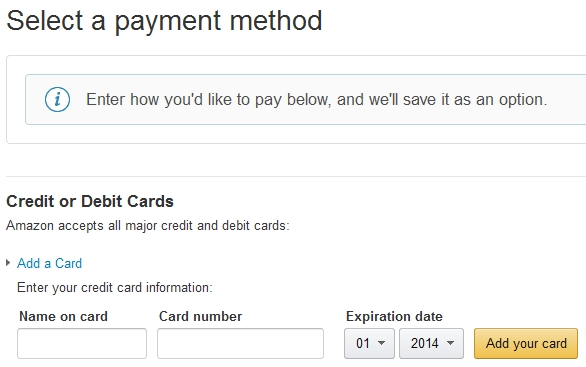 select a Payment Method